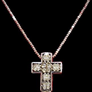 Diamond and Ruby Cross Pendant 18K