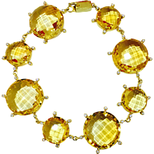 Topaz Citrine and Diamond Bracelet 18K