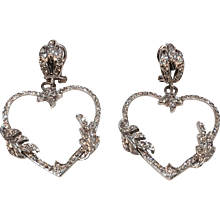Diamond Heart Shaped Earrings in White Gold