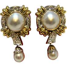 Mabe and Cultured Pearl Earrings with Diamonds