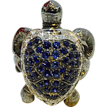 Diamond Sea Turtle Ring with Emerald and Sapphires 18K