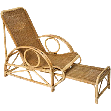 French Provincial Bamboo and Rattan Lounge Chaise with Legs Extension