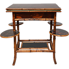 19th Century English Bamboo Fold over Game Table
