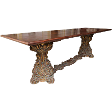 European Carved Gilt Base Dining Table