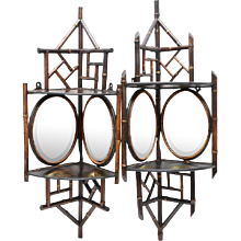 19th Century Mirrored, Wood and Bamboo Corner Brackets