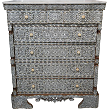 19th Century Five-Drawer Mother of Pearl Inlay Dresser