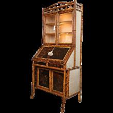 19th Century English Bamboo Secretary Bookcase