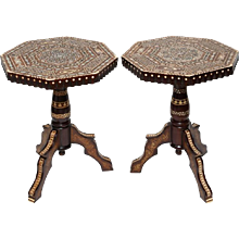 Superb Pair of Syrian Mother of Pearl Octagonal Tables