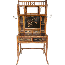 19th Century English Bamboo Desk Secretary