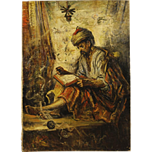 19th Century Signed Orientalist Painting Oil On Canvas