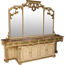 20th Century Italian Lacquered Sideboard With Mirror