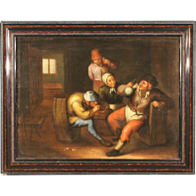 18th Century Flemish Painting Interior Scene