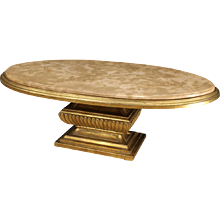 20th Century Italian Golden Table With Marble Top