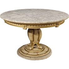 20th Century French Lacquered Table With Marble Top
