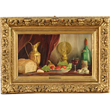 Flemish Still Life Painting Signed And Dated 1975