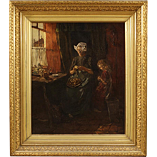 Dutch Interior Scene Painting Signed And Dated 1904