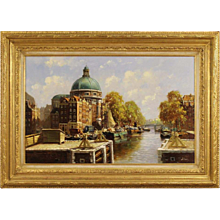 "20th Century Dutch Painting ""Amsterdam View"""