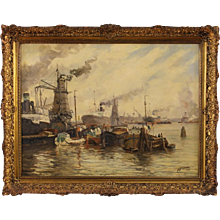 "20th Century Dutch Painting ""Port View"""