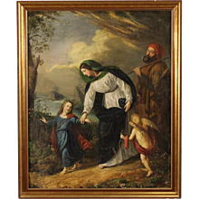 19th Century French Painting Holy Family With Little Angels