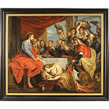 "18th Century Flemish Painting ""Christ in the House of Simon the Pharisee"""