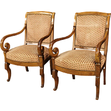 Pair Of French Armchairs In Walnut