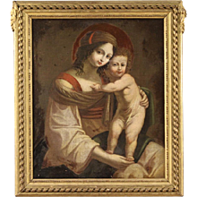 "18th Century Antique Italian Painting ""Virgin With Child"""