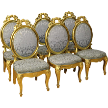 20th Century Group Of Six Italian Gilt Chairs