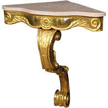 20th Century Italian Golden Console Table With Marble Top