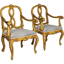 20th Century Pair Of Venetian Armchairs In Lacquered And Golden Wood