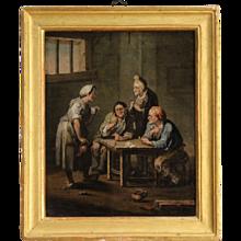 19th Century Antique Flemish Interior Scene Painting