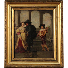 19th Century French Painting Gallant Scene