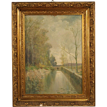 20th Century French Landscape Painting Oil On Canvas