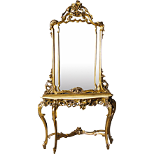 20th Century Italian Console With Mirror In Golden Wood