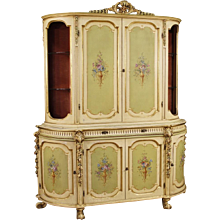 20th Century Italian Lacquered, Gilt, Painted Sideboard