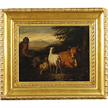 19th Century Antique French Bucolic Scene Painting