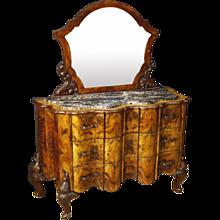 20th Century Italian Dresser With Mirror In Walnut And Burr Walnut