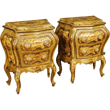 20th Century Pair Of Venetian Lacquered And Painted Bedside Tables