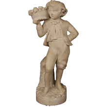 French Art Sculpture in Alabaster Representing Autumn