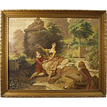 19th Century Italian Signed Painting Romantic Scene