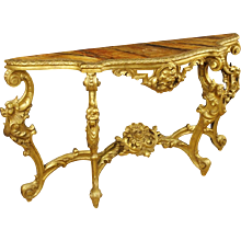 20th Century Italian Lacquered And Gilt Console Table In Louis XIV Style