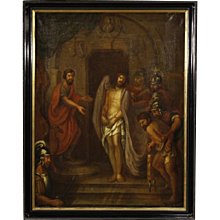 18th Century Antique French Religious Painting Passion Of Christ Oil On Canvas