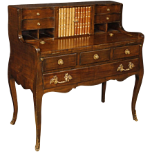 20th Century Dutch Writing Desk In Mahogany Wood With Bronze and Brass