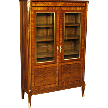 20th Century French Inlaid Display Cabinet In Mahogany Wood With Gilt Bronzes