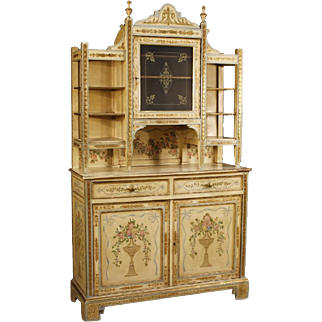 20th Century Italian Lacquered, Painted, Gilt Cupboard in Wood With Floral Decorations