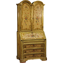 20th Century Venetian Trumeau In lacquered, Gilt, Painted Wood With Floral Decorations