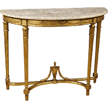 20th Century French Gilt Demilune Console Table In Wood In Louis XVI Style With Marble Top