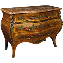 20th Century French Chest Od Drawers With Marble Top And Bronzes In Louis XV Style
