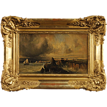 19th Century Antique French Seascape Painting Oil On Canvas With Gilt Frame