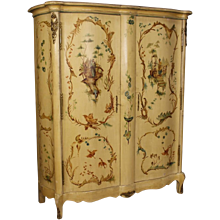 20th Century French Wardrobe In Lacquered And Painted Chinoiserie Wood