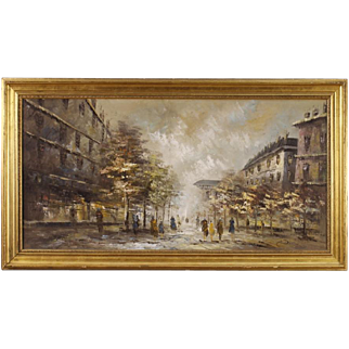 20th Century French Painting Paris View Landscape Oil on Canvas